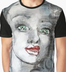 Raw Looks Abstract Woman's Face Graphic T-Shirt