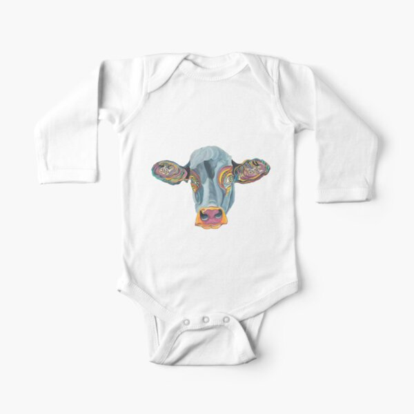 Cute Cow - Don't eat me  ... by Giselle Long Sleeve Baby One-Piece
