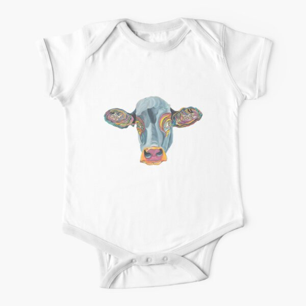 Cute Cow - Don't eat me  ... by Giselle Short Sleeve Baby One-Piece