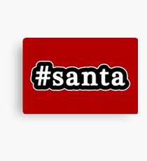 Santa - Christmas - Hashtag - Black & White Canvas Print