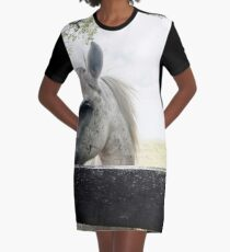 White Horse Graphic T-Shirt Dress