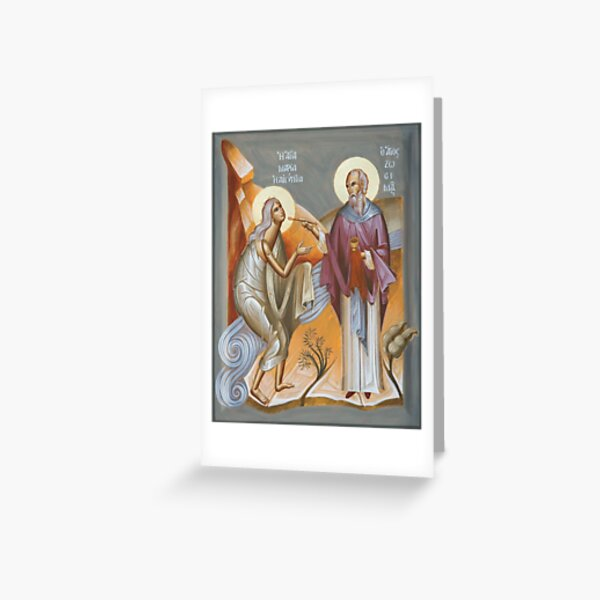St Mary of Egypt and St Zosimas Greeting Card