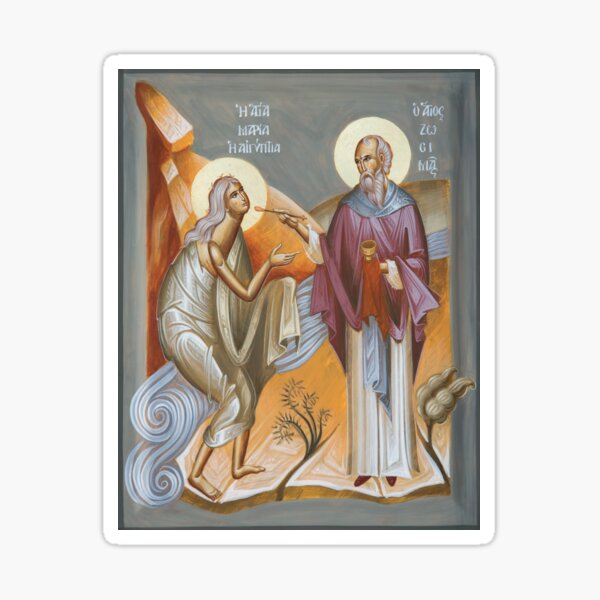 St Mary of Egypt and St Zosimas Sticker