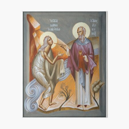 St Mary of Egypt and St Zosimas Art Board Print