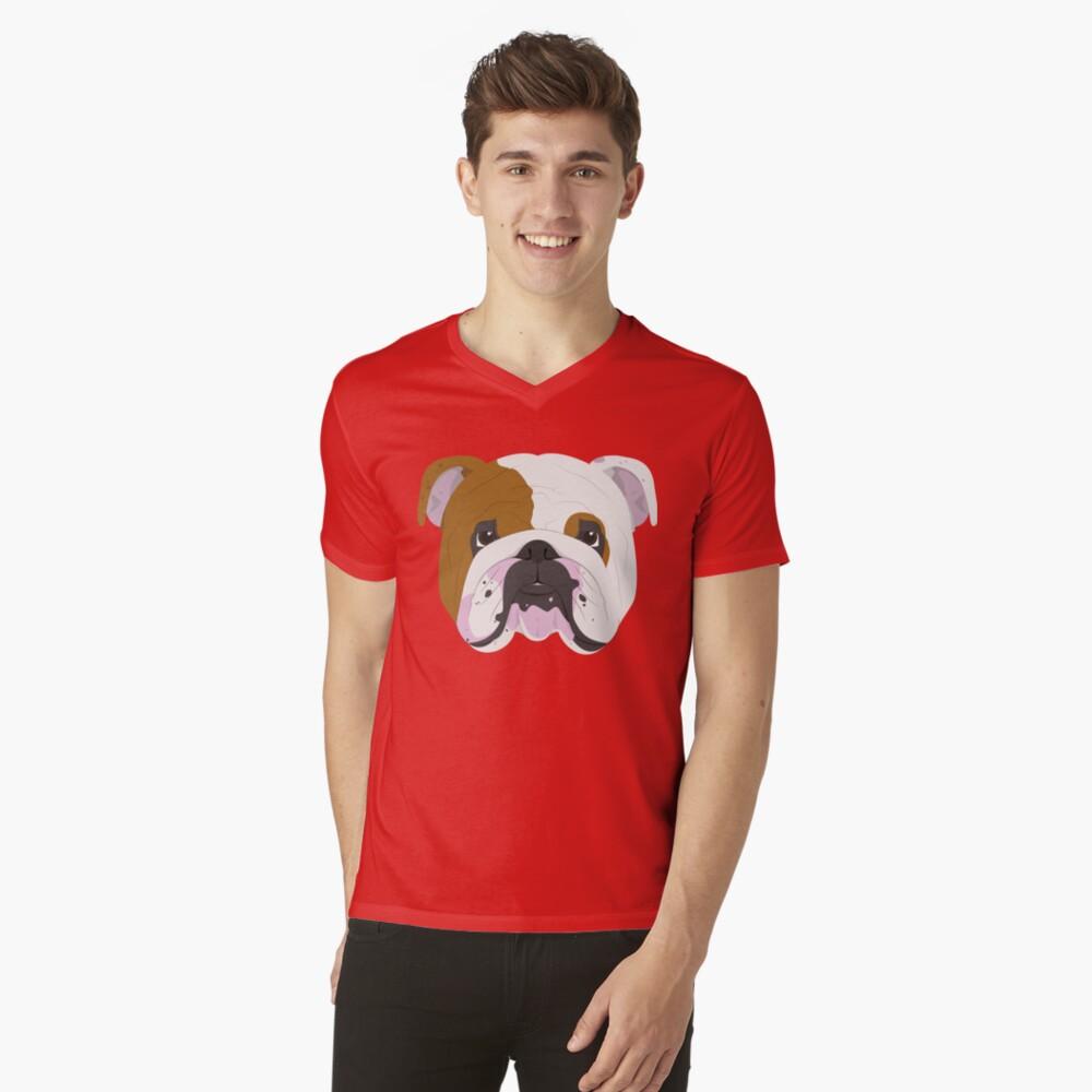 English Bulldog Cute Dog Portrait Illustration V-Neck T-Shirt