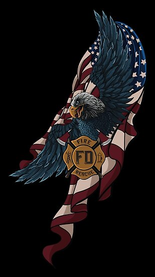 Firefighter Fireman Paramedic Rescue Patriotic Hero Eagle Flag USA Fire red white blue by reburndesigns