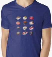 Sushi Rolls: Cute & Funny Sushi Friends Pattern Mens V-Neck T-Shirt
