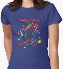 Kitchen Healthy Cooking Concept with Different Vegetables and Cutlery.  T-Shirt