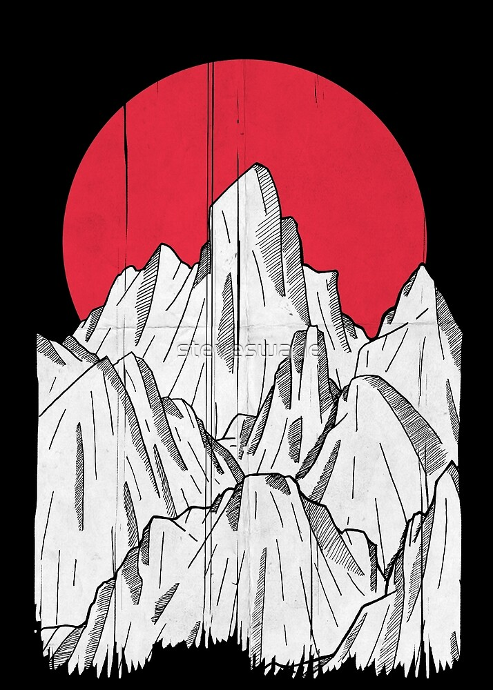 The red sun and the mountain by steveswade