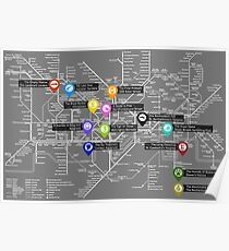 Sherlock Tube Map (Dark) Poster