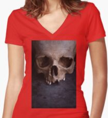 Male skull on rusty metal  Women's Fitted V-Neck T-Shirt