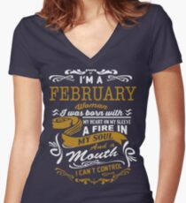 I'm an February women Women's Fitted V-Neck T-Shirt
