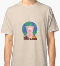 Globetrotter Travel Pig with Suitcases Classic T-Shirt