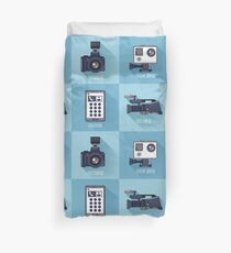 Modern Technologies. Professional Photo and Video Camera, Extreme Camera and Smart Phone.  Duvet Cover