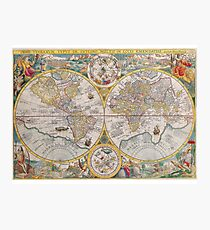 Vintage global map illustration Photographic Print