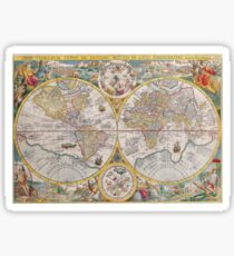 Vintage global map illustration Sticker