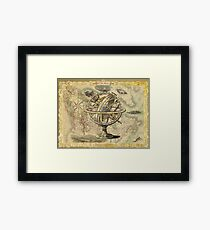 Vintage nautical compass and map illustration Framed Print