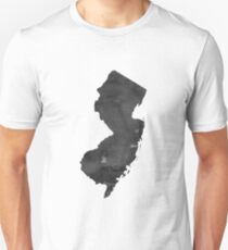 Industrial Style Map Print, New Jersey Map Print,Modern, Loft, Cafe,Modern Map Art, Minimalist, Black White Unisex T-Shirt