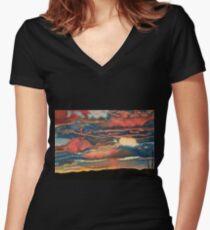 Arizona Sunset Women's Fitted V-Neck T-Shirt
