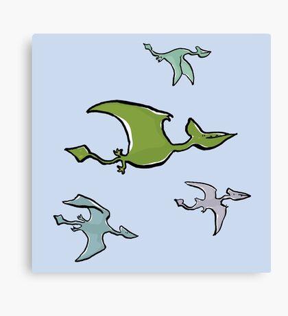 a flock of pterosaurs Canvas Print