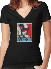 Wedge - Hero of the Rebellion : Inspired By Star Wars Women's Fitted V-Neck T-Shirt