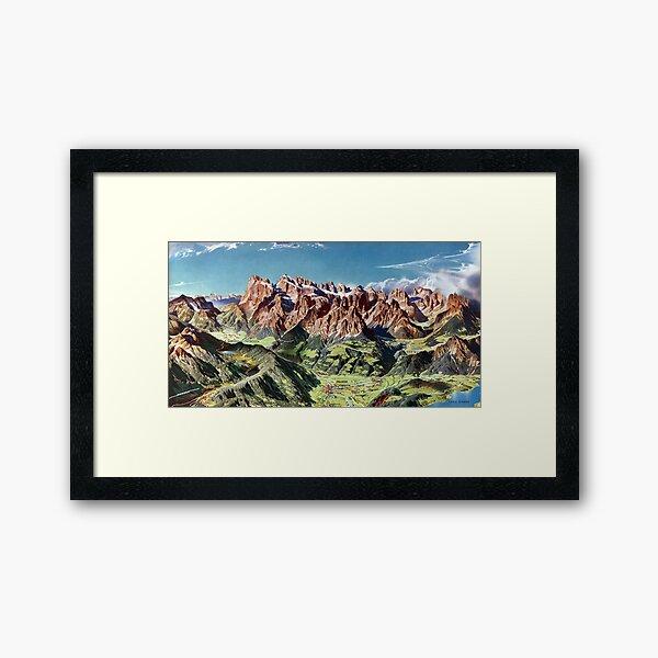 Vintage Dolomites Italy Relief Map Framed Art Print
