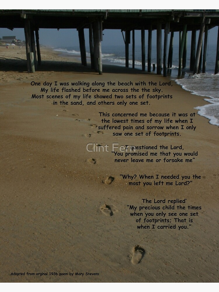 Quot Footprints In The Sand With Poem Quot Framed Art Print By