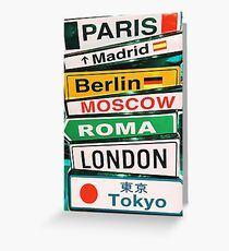 Capital Cities Arrow Sign Information Greeting Card