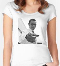 Obama Tailliertes Rundhals-Shirt