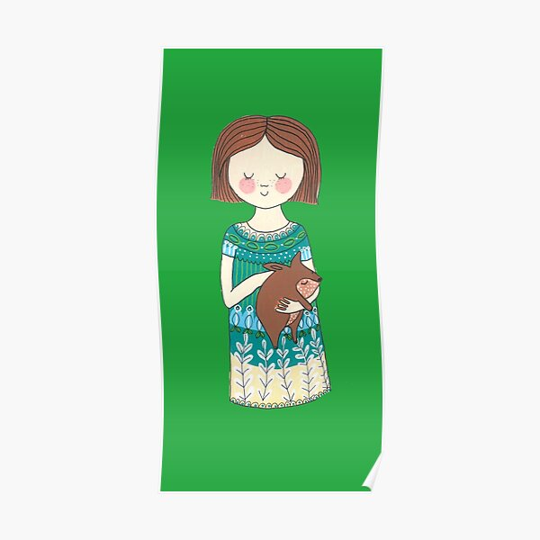 Girl with a wombat Poster
