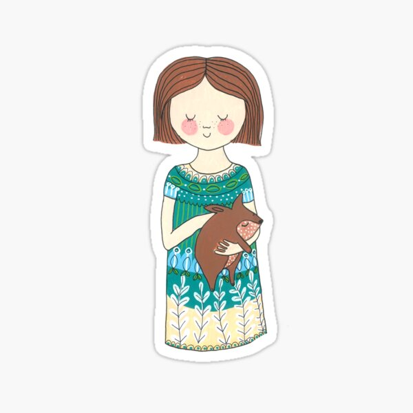 Girl with a wombat Sticker
