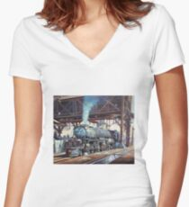 Union Pacific Big Boy. Women's Fitted V-Neck T-Shirt
