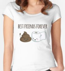 Best Friends Forever Poop And Toilet Paper Funny Women's Fitted Scoop T-Shirt