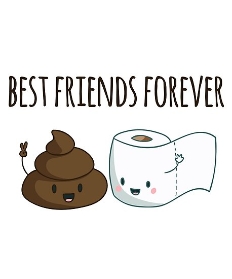 best friends forever poop and toilet paper funny posters