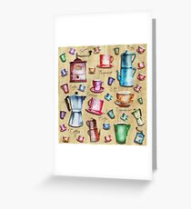 Coffee Time! Vintage Watercolor Coffee Design Pattern Greeting Card