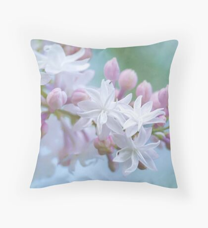 Soft and Lovely Lilac Blossoms Throw Pillow
