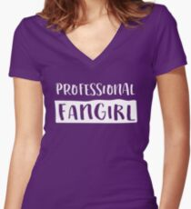 Professional Fangirl Women's Fitted V-Neck T-Shirt