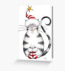 Kazart Fat Cat Xmas Star Greeting Card