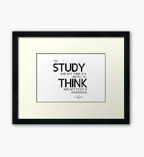 study and think - confucius Framed Print