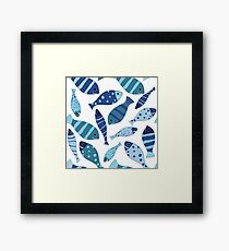 Seamless vector pattern of fish Framed Print