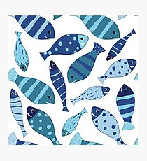 Seamless vector pattern of fish Photographic Print