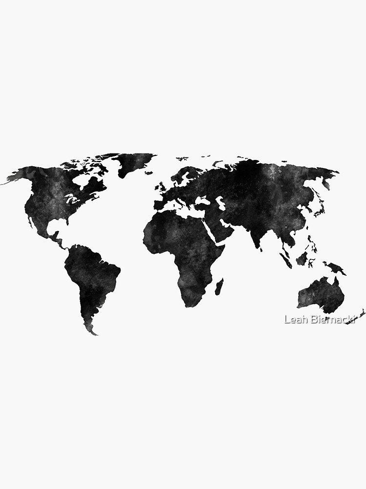 Black and white watercolor map by adventureliela