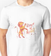 House Lion Brave At Heart Watercolor Unisex T-Shirt
