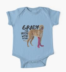 Grady the Irish Wolfhound - black text One Piece - Short Sleeve