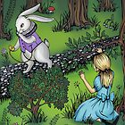 Alice watches a white rabbit. by polamart