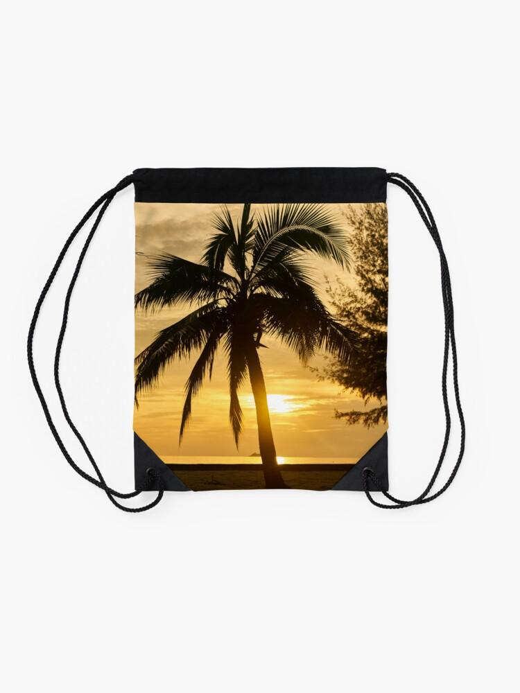 Alternate view of Dawn in the Bahamas Drawstring Bag