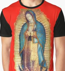 Our Lady of Guadalupe Virgin Mary Tilma Red Graphic T-Shirt