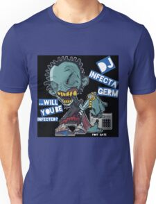 "DJ INFECTA GERM ""Loves music to death"" Blue Foamposite Unisex T-Shirt"