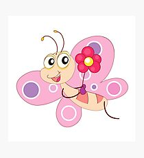 Pink happy butterfly holding flower cartoon Photographic Print
