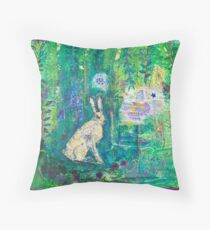 THe hare and the butterfly Throw Pillow
